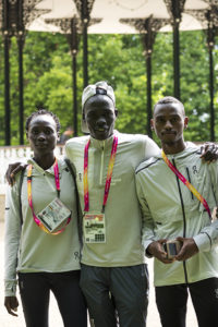 Members of the Refugee Athletes Team pose for a photo after a training session in London ahead of the World Athletics Championships, which begin today. ; Five refugee athletes have travelled to London from Kenya to compete in this year's World Athletics Championships, the first time in the competition's history that refugees have taken part. Ahmed Bashir Farah, Anjelina Nadai Lohalith, Dominic Lokinyomo Lobalu, Rose Nathike Lokonyen and Kadar Omar Abdullahi will be participating as members of the Refugee Athletes Team.